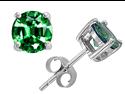 Original Star K(TM) Round 7mm Simulated Emerald Earrings Studs