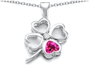 Celtic Love By Kelly Large 7mm Heart Shape Created Pink Sapphire Lucky Clover Heart Pendant in Sterling Silver