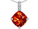 Star K Large 12mm Cushion Cut Simulated Mexican Orange Fire Opal Pendant in Sterling Silver
