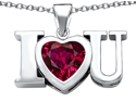 Star K 8mm Heart Shape Created Ruby I Love You Heart Pendant in Sterling Silver
