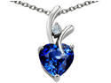 Star K 1.95 CTW Heart Shaped 8mm Created Sapphire in Sterling Silver Pendant with 18