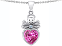 Star K Love Angel Pendant with 10mm Created Pink Sapphire Heart in Sterling Silver
