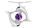 Star K Round Simulated Amethyst Dolphin Pendant in Sterling Silver
