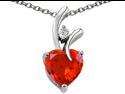 Original Star K(TM) Heart Shape 8mm Simulated Orange Mexican Fire Opal Pendant