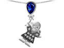 Star K Girl Holding a Balloon Mother September Birth Month Pear Shape Created Sapphire Pendant in Sterling Silver