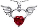 Star K Wings Of Love Birth Month Pendant with 8mm Heart Shape Created Ruby in Sterling Silver