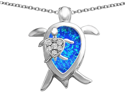 Star K Large Mother and Baby Turtle family Pendant with 12x8mm Pear Shape Blue Simulated Opal in Sterling Silver