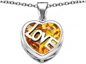Star K Large Love Heart Pendant with 15mm Heart Shape Simulated Citrine in Sterling Silver