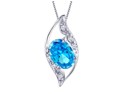 "Mabella 0.78 Cttw Oval Cut 7mm*5mm Created Blue Topaz Pendant Sterling Silver with 18"" Chain"