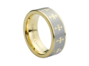 Tungsten Carbide Yellow Gold Plated Laser Engraved Crosses Design 8mm Wedding Band Ring