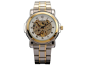 KS Skeleton Analog Golden Silver Steel Men Automatic Mechanical Wrist Watch New