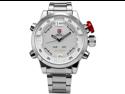 Shark SH104 Men's LED Day & Date White Dial Sport Stainless Steel Quartz Wrist Watch