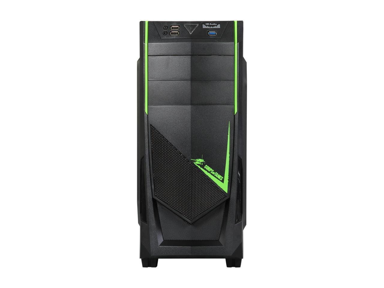 DIYPC Ranger-R8-G Black//Green USB 3.0 ATX Mid Tower Gaming Computer Case with 3