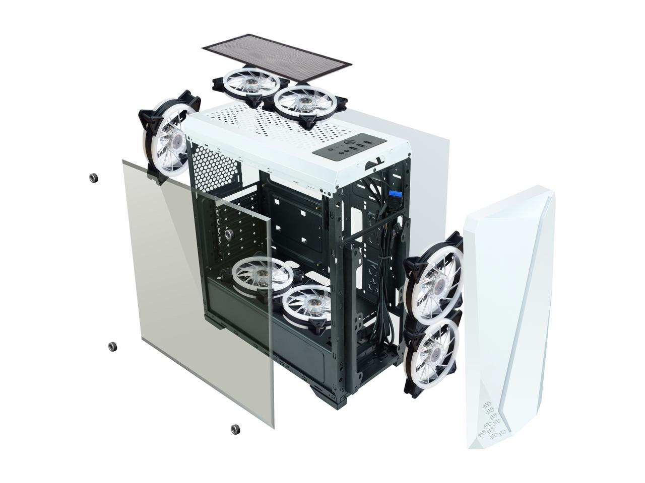 DIYPC S2-BK-RGB Black USB3.0 Steel// Tempered Glass ATX Mid Tower Gaming Computer