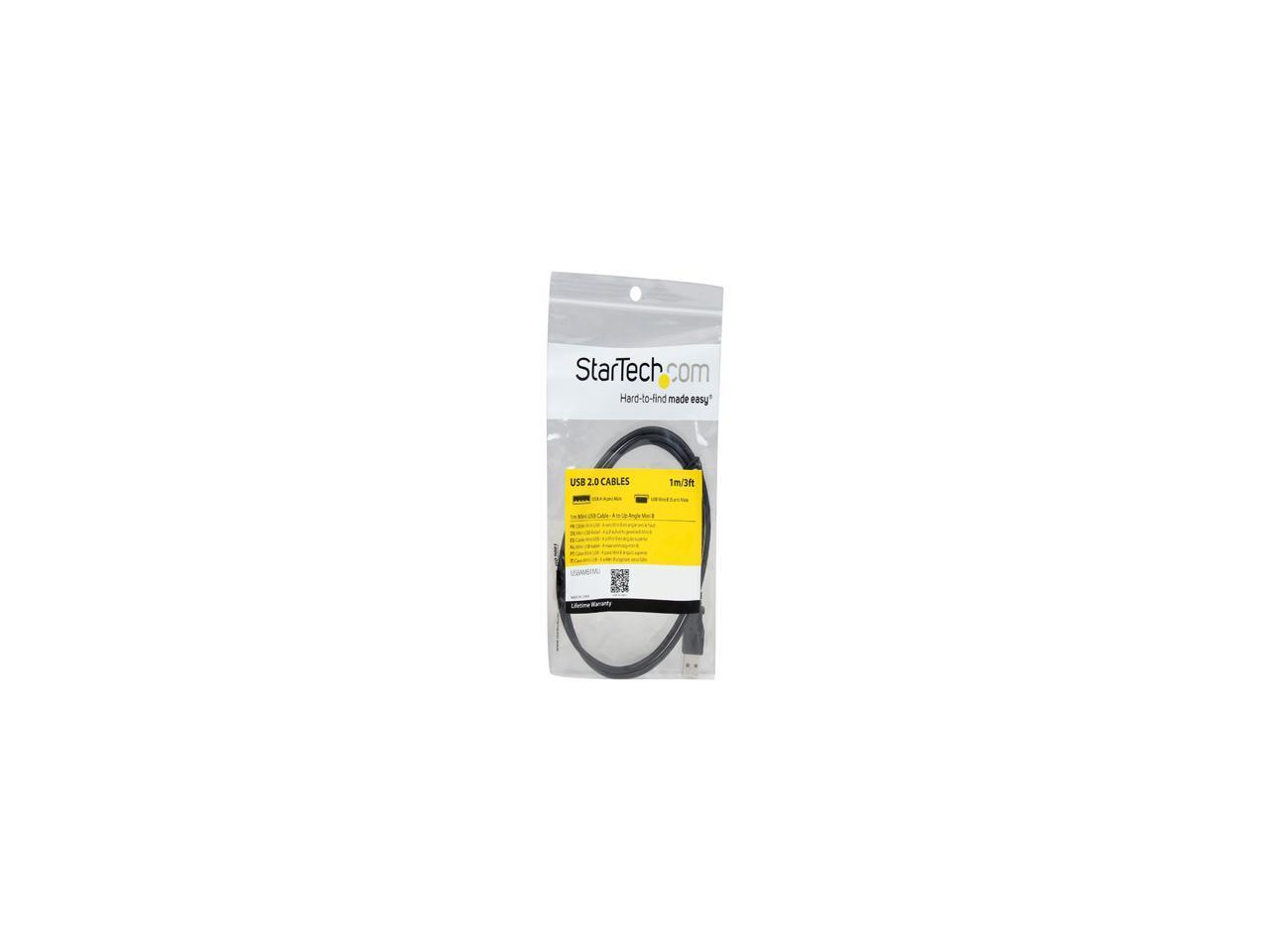 StarTech.com USBAMB1MU 1m Mini USB Cable Cord-A to Up Angle Mini B Black