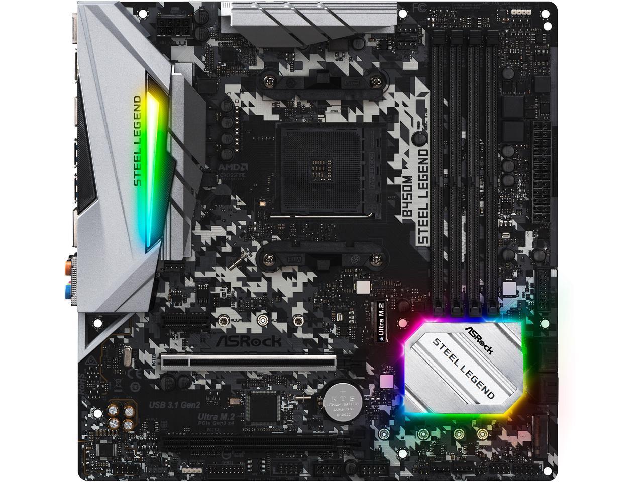 Details about ASRock B450M Steel Legend AM4 AMD Promontory B450 SATA 6Gb/s  USB 3 1 HDMI Micro