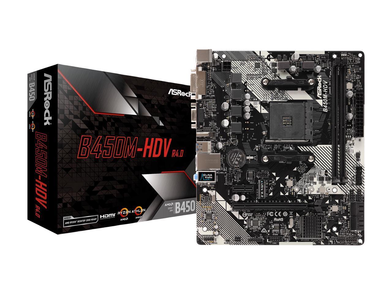 Details about ASRock B450M-HDV R4 0 AM4 AMD Promontory B450 SATA 6Gb/s  Micro ATX AMD Motherboa