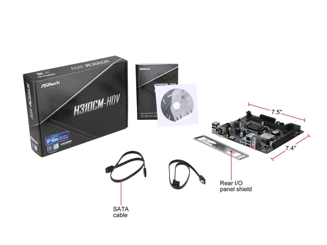 ASRock H310CM-HDV LGA 1151 300 Series Intel H310 HDMI SATA 6Gb//s USB 3.1 Micro