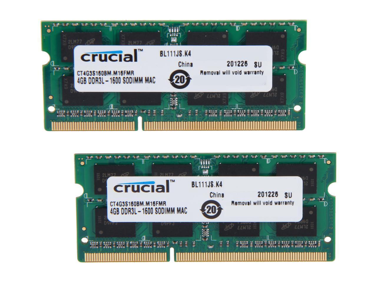 240-Pin DDR3 SDRAM DDR3L 1600 PC3L 12800 2 x 4GB Desktop Memory Crucial 8GB