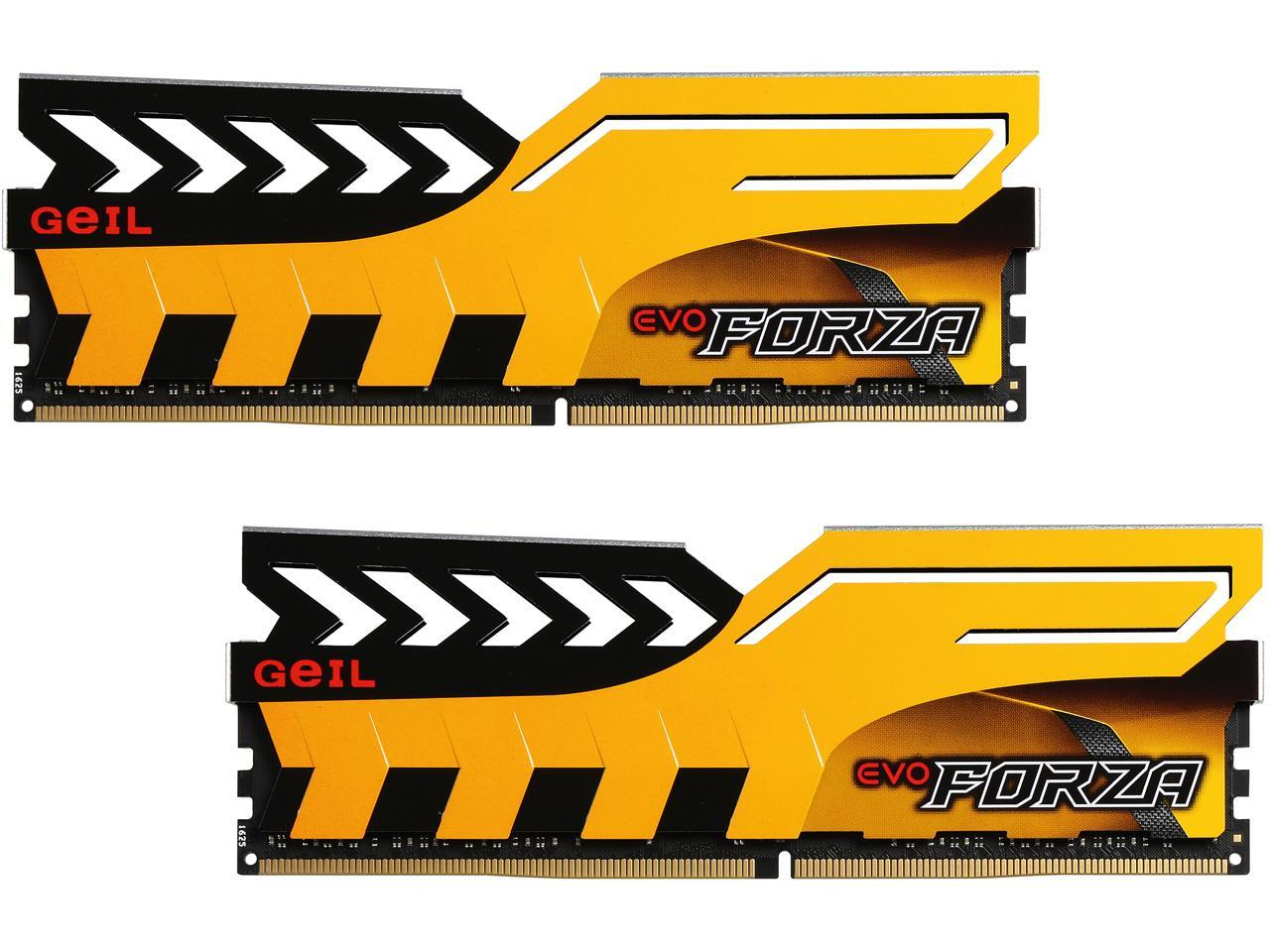 GeIL EVO FORZA DC 16GB (2 x 8GB) PC4-19200 2400MHz SDRAM 288-Pin SDRAM Desktop Memory (Yellow)