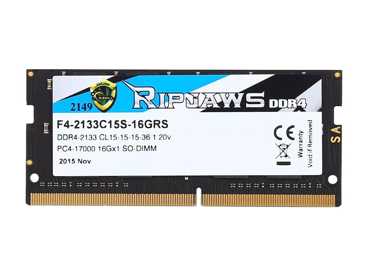 G.SKILL Ripjaws Series 16GB 260-Pin DDR4 SO-DIMM DDR4 2133 Laptop Me PC4 17000