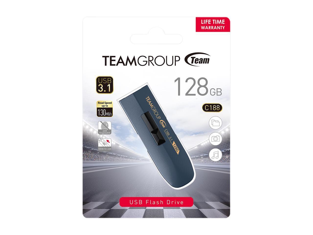 Speed Up to 130MB//s TEAM 128GB C188 USB 3.1 Flash Drive TC1883128GL01