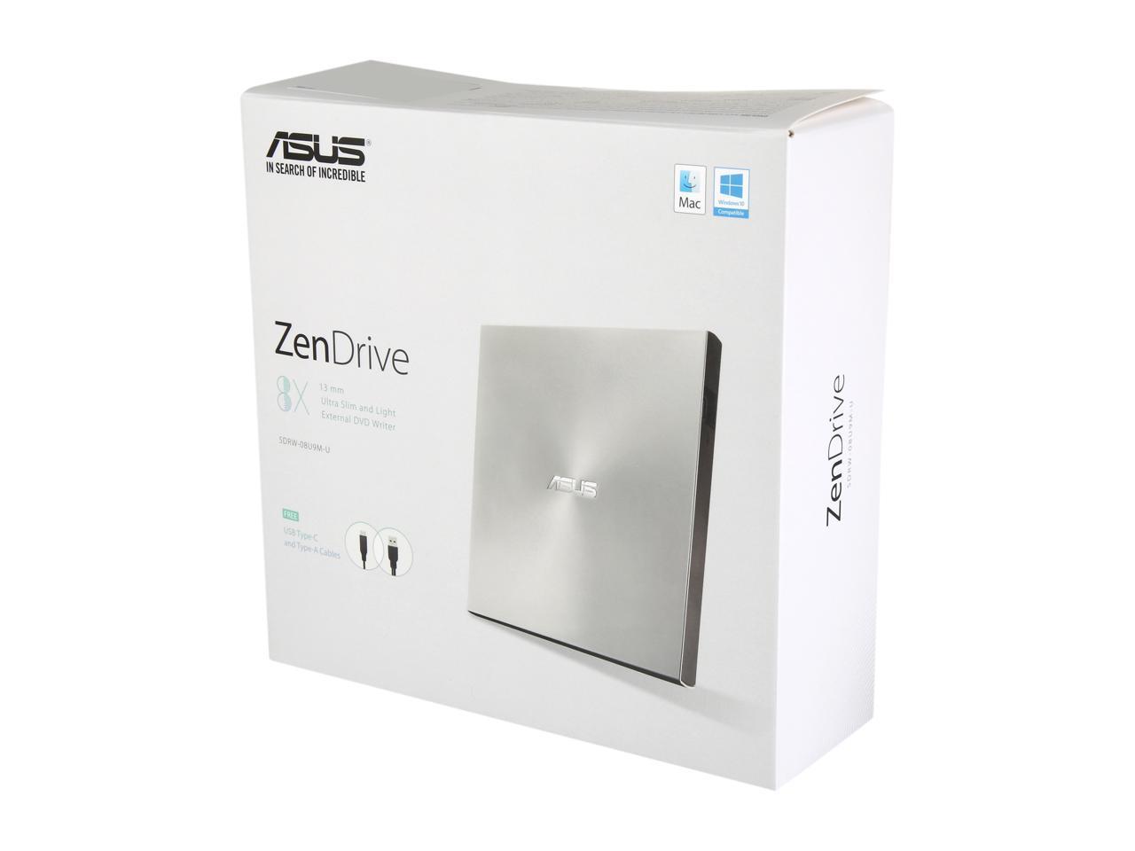 ASUS USB 2.0 External CD/DVD Drive Model SDRW-08U9M-U/SIL ...