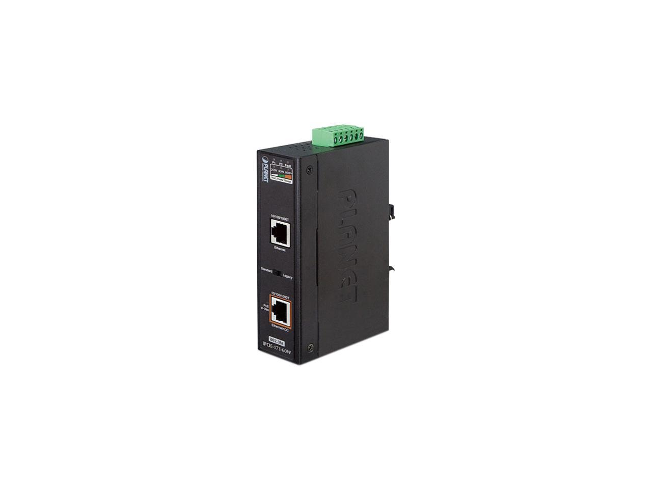 Details about PLANET IPOE-171-60W Industrial Single-Port 10/100/1000 Mbps  802 3bt PoE Injector