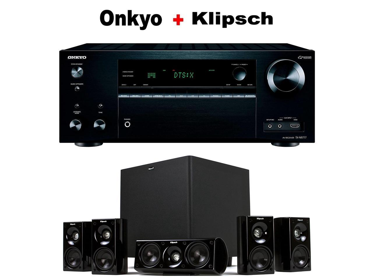Onkyo TX-NR777 receiver + Klipsch HD Theater 600 home theater speaker system bundle