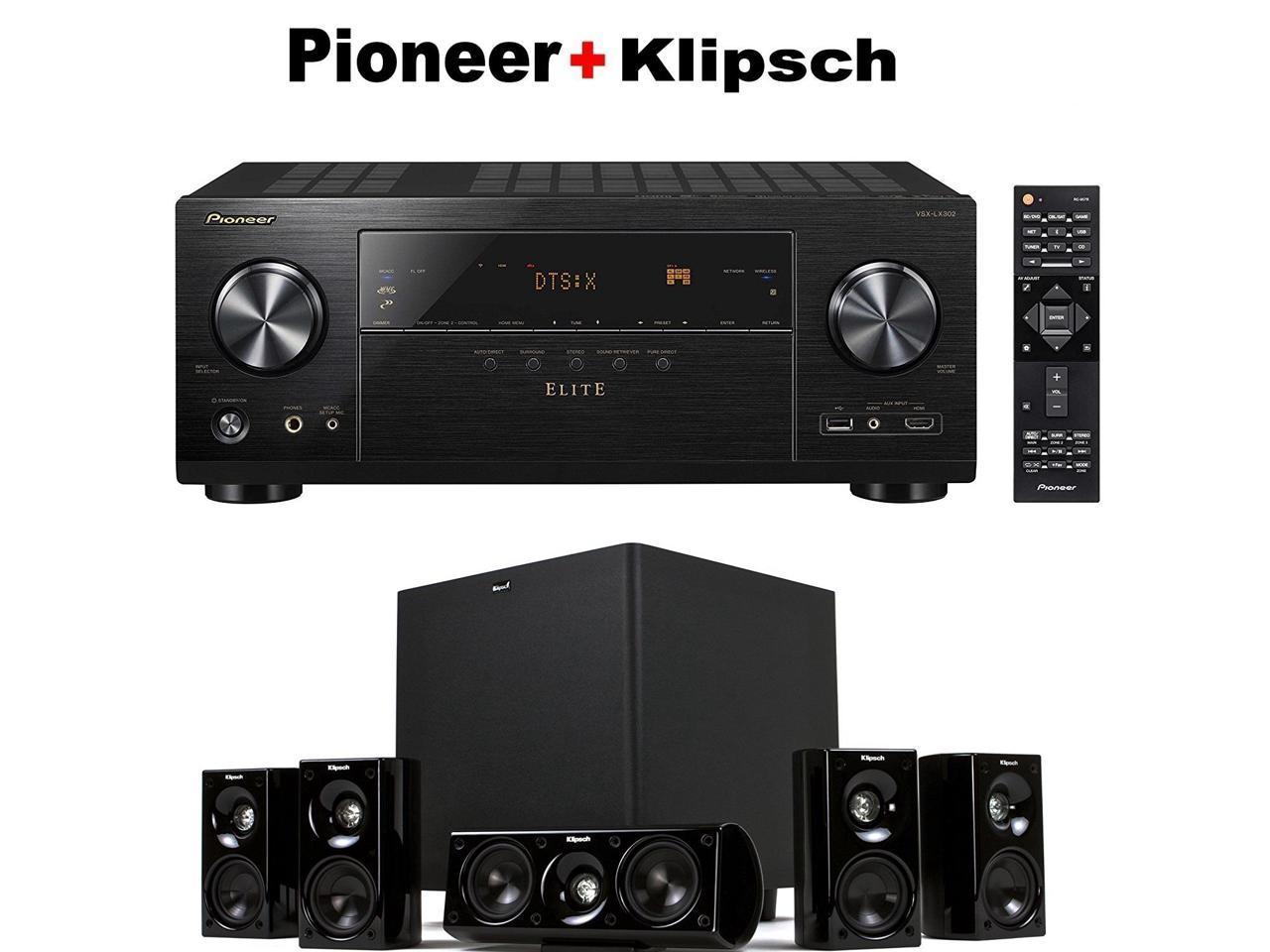 Pioneer VSX-LX302 receiver + Klipsch HD Theater 600 home theater speaker system bundle