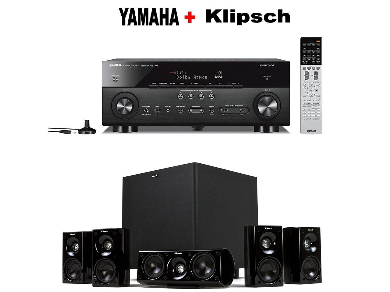 Yamaha RX-A770 receiver + Klipsch HD Theater 600 home theater speaker system bundle