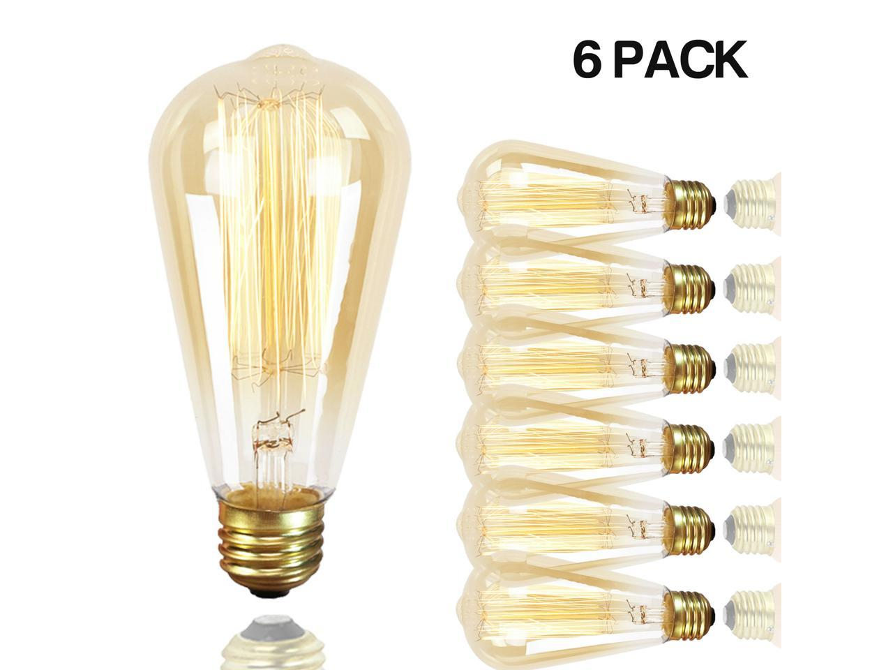 GMY Lighting 60-watt ST64 Dimmable Edison Incandescent Vintage Light Bulb 6-Pack (Warm White)