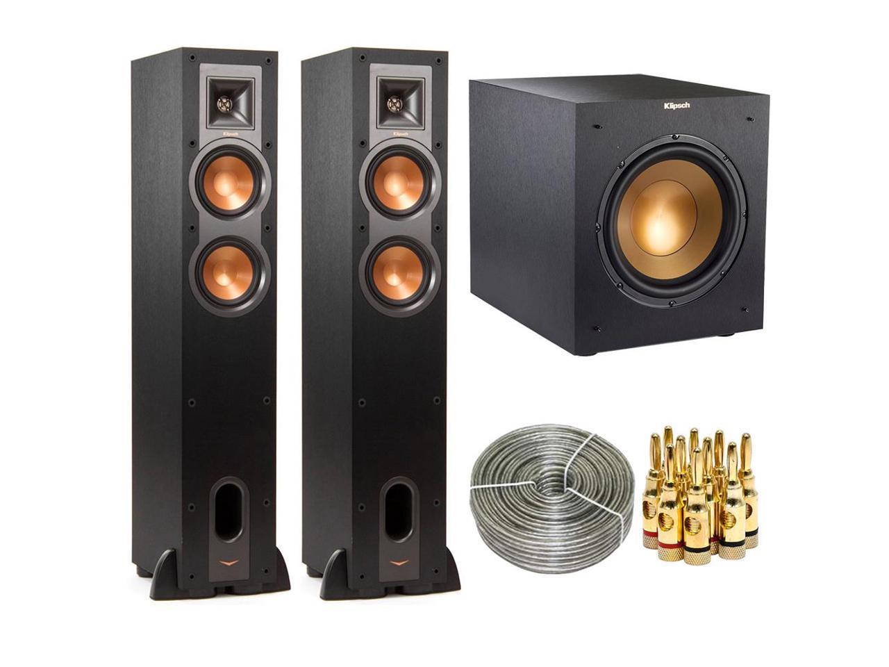 Klipsch Pair of R-24F Floorstanding Speaker w/ R-10SWi 10-inch 300w Wireless Subwoofer