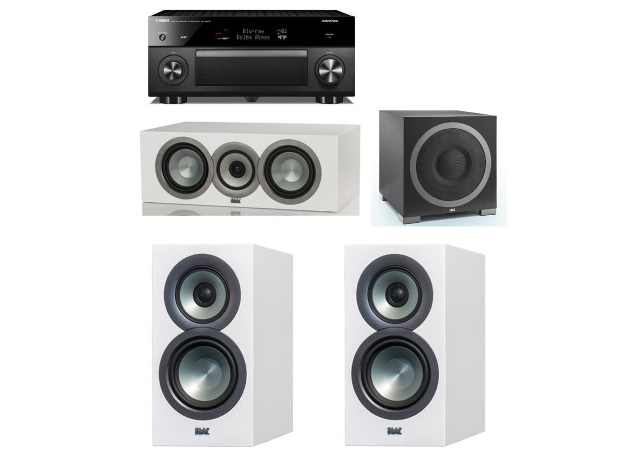 ELAC Uni-Fi Slim White 3.1 System with 2 ELAC BS-U5 Bookshelf Speakers, 1 ELAC CC-U5 Center Speaker, 1 ELAC Debut S12EQ Powered Subwoofer, 1 Yamaha RX-A3070 Receiver
