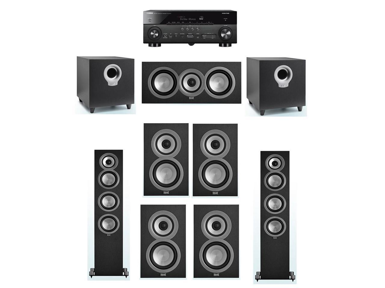 ELAC Uni-Fi 7.2 System with 2 ELAC UF5 Floorstanding Speakers, 1 ELAC UC5 Center Speaker, 4 ELAC UB5 Speaker, 2 ELAC Debut S10 Powered Subwoofer, 1 Yamaha RX-A770 A/V Receiver