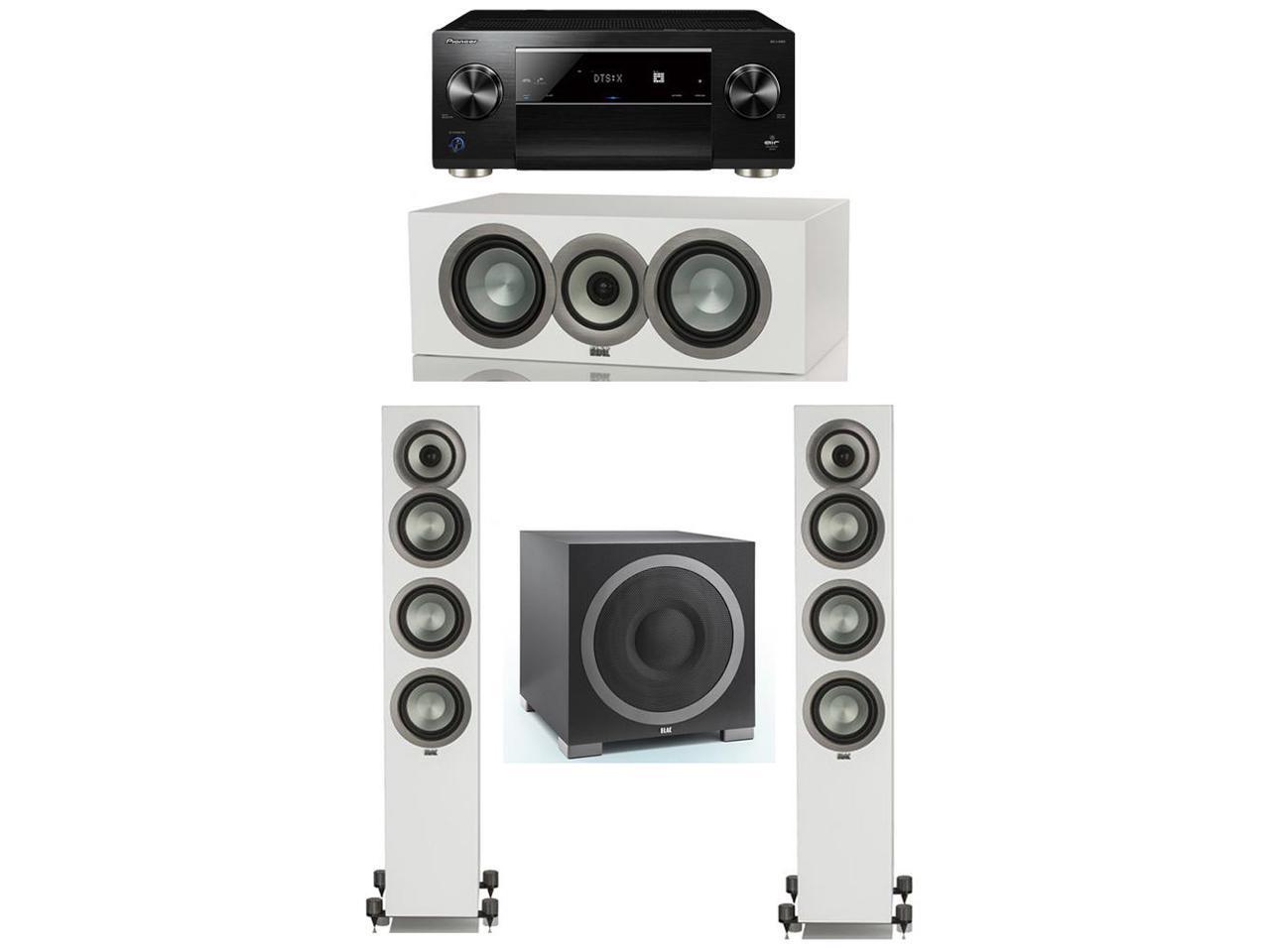 ELAC Uni-Fi Slim White 3.1 System with 2 FS-U5 Floorstanding Speakers, 1 ELAC CC-U5 Center Speaker, 1 ELAC Debut S12EQ Powered Subwoofer, 1 Pioneer SC-LX901 A/V receiver