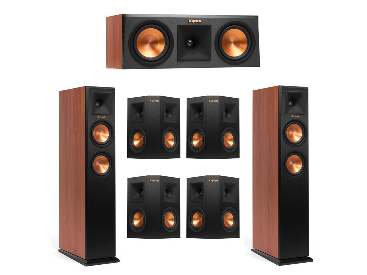 Klipsch 7.0 Cherry System with 2 RP-250F Tower Speakers, 1 RP-250C Center Speaker, 4 Klipsch RP-240S Surround Speaker + AudioQuest Bundle