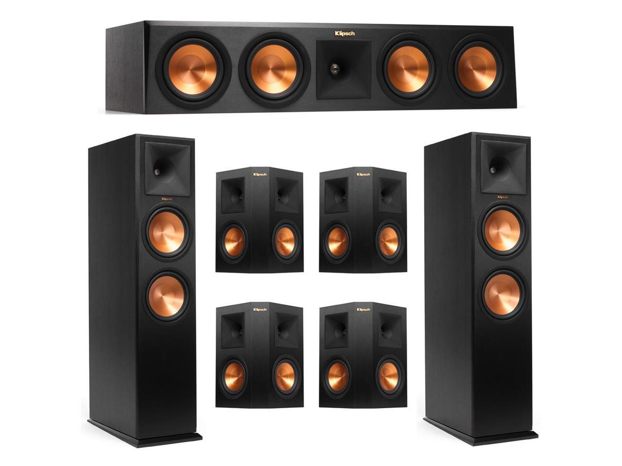 Klipsch 7.0 System with 2 RP-280F Tower Speakers, 1 RP-450C Center Speaker, 4 Klipsch RP-250S Surround Speaker + AudioQuest Bundle