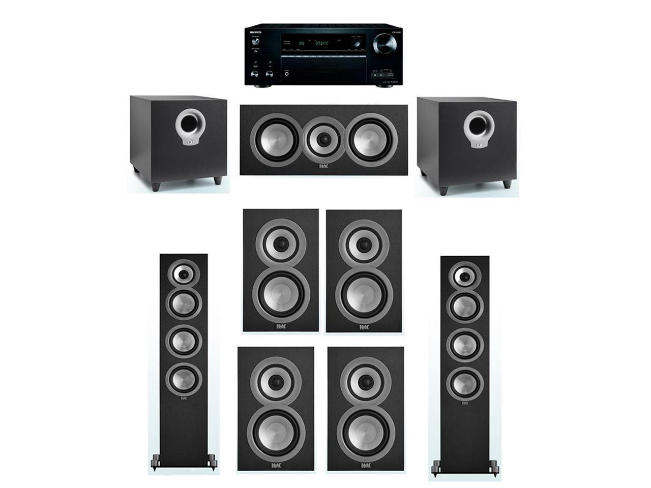 ELAC Uni-Fi 7.2 System with 2 UF5 Floorstanding Speakers, 1 UC5 Center Speaker, 4 UB5 Speaker, 2 ELAC Debut S10 Powered Subwoofer, 1 Onkyo TX-NR777 A/V Receiver