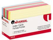 Universal 47216 Index Cards, 3 x 5, Blue/Salmon/Green/Cherry/Canary, 100/Pack, 1 Pack
