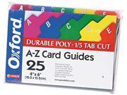 Tops Pendaflex 73154 Card Guides Alpha 1 5 Tab Polypropylene 4 x 6 25 Set