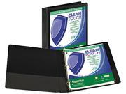 "Samsill 18230 Clean Touch Locking Round Ring View Binder- 1"" Capacity- Black"