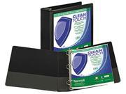 "Samsill 18280 Clean Touch Locking Round Ring View Binder- 3"" Capacity- Black"