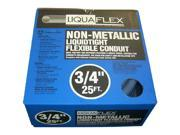 """Southwire 55094321 3/4"""" X 25' Liqua Flex Non Metallic Liquidtight Flexible Cond Selling Unit: Each Features: * One piece construction with two different PVC materials that are extruded to form a highly flexible product designed especially for electrical applications    * Ideal for air conditioners, motors, pumps, and other similar applications    * Seals out abrasives, alcohol, coolants, corrosive fumes and gases, dirt, grease, mineral acids, non-concentrated fixed alkalines, petroleum oils, salt air spray, water and weather    * Use where vibrations or other harsh environments exist    * Suitable for direct burial    * Strong and flexible to withstand repetitive motion applications    * Will not rust or corrode    * Smooth interior for easy wire pulling    * 3/4"""" x 25'    * 0.820"""" inner diameter    * 1.030 outer diameter    * 8.5 approximate inside bend"""