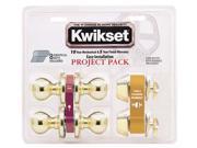 Kwikset 92420-031 Bright Brass Tylo Knob Entry Lockset & Deadbolt