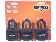 "Fortress 1804TRI 3 Count 1-9/16"" Black Weatherproof Padlocks"