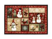 """Shaw Living Holiday Collection Let It Snow Area Rug Multi 2' 7"""" X 3' 10"""" 3P17300102XM"""