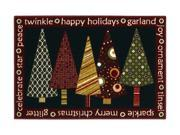 """Shaw Living Holiday Collection Twinkle Trees Area Rug Multi 2' 7"""" X 3' 10"""" 3P17300119XM"""