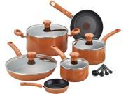 T-Fal  Excite C971SE64 14-Piece Cookware Set, Orange
