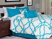 Lavish Home 7 Piece Oversized Trellis Comforter Set King Blue